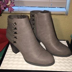 Faux leather faux suede grey booties